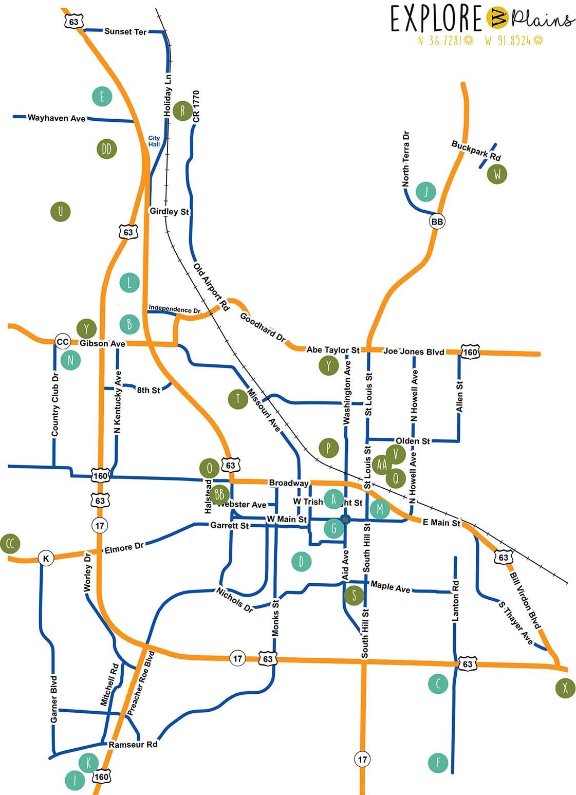 West Plains Missouri City Map